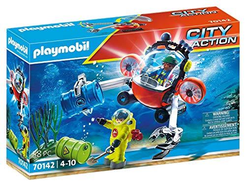 PLAYMOBIL City Action 70142 Seenot - Barca de Buceo para niños a Partir de 4 años