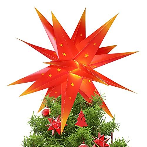 Qijieda 3D Puntale Albero Natale Luminoso - 18 inch Batteria da Esterno a LED con Luce a Stella di Natale con Timer, Puntale Albero di Natale Usato per Decorare Alberi di Natale,Balconi(Red-Yellow)