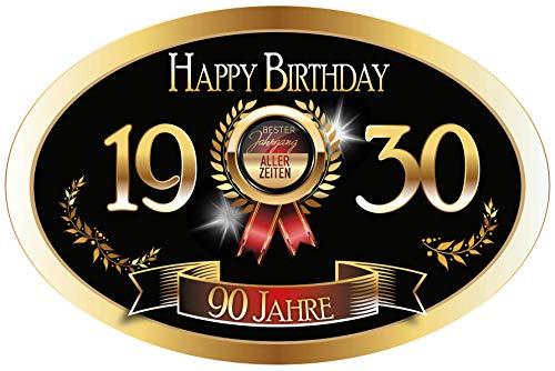 """""""Bester Jahrgang - 90 Jahre - Happy Birthday"""" 1930 der beste Jahrgang Aufkleber"""
