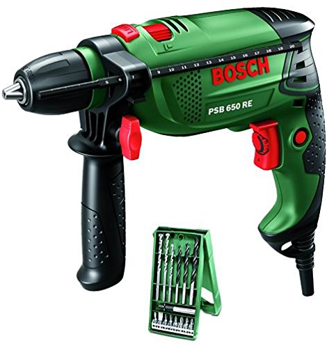 Bosch Home and Garden Trapano Battente PSB 650 RE Compact con Set X-Line 0603128005 da 15 Pezzi, verde