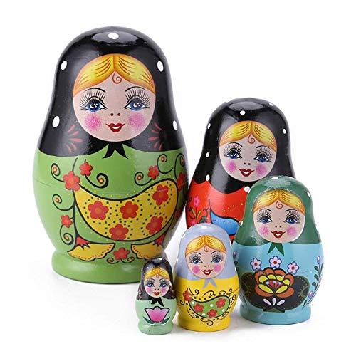 KEBY Fünfstöckige handgemachte Tier Matroschka Spielzeug aus Holz russische traditionelle Puppen Geschenk für Kinder niedlichen Cartoon Tiere Muster Puppe Spielzeug