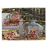 MAYUES Rompecabezas Puzzle 500 Piezas Escena de otoño con Plantas y Manzanas en una Cesta de Mimbre Inteligencia Jigsaw Puzzles para Adultos Niños Juegos