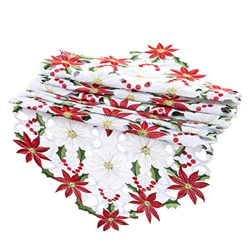 Joiedomi Christmas Flower Table Runner, Embroidered Table Runner for Christmas Decorations