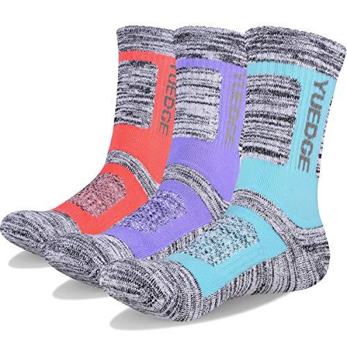 YUEDGE 3 Paar Damen Wandersocken Atmungsaktive Sport Socken Trekkingsocken für Outdoor-Aktivitäten (L, Hellblau/Rosa/Lila)