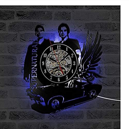 ZhaoCJB 3D Schwarz Hohl Supernatural Thema LED Rekorduhr Fliegende Auto Form Vinyl Wanduhr Kreative Antiken Stil Uhr