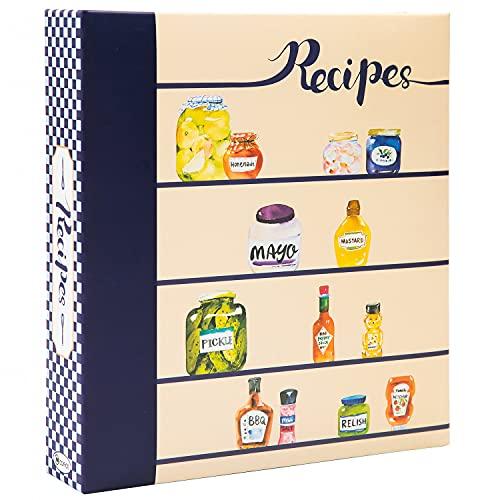 COFICE Recipe Book Binder – 8.5x9.5 Recipe Ring Binder, 4x6 Cards and Tabbed Dividers, Seasoning Design