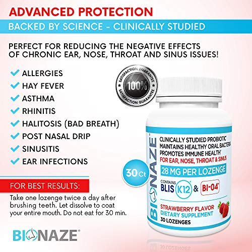 Bionaze Oral Sinus Probiotic w/BLIS K12 & BL-04 for Throat, Sinus, Ear, Nose & Mouth. Shelf Stable, Clinically Proven Strains Prevent Illness and Improve Breath.