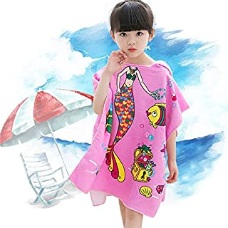 Dreamlizer Toddler Hooded Beach Bath Towel - Soft Swim Pool Coverup Poncho Pirate Cape for Kids Boys Children Pink Mermaid