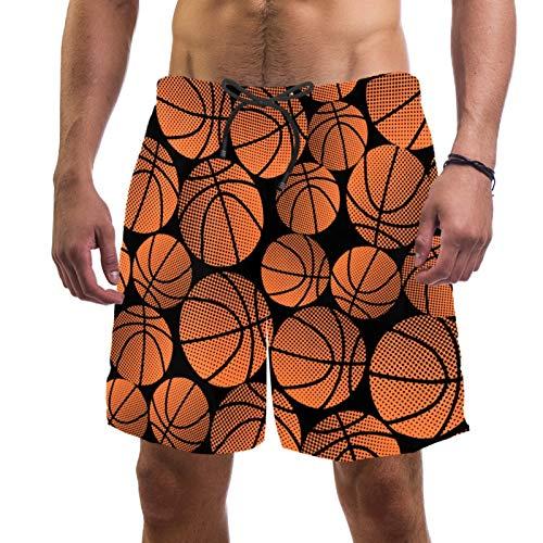 Pantalones cortos de playa de surf para hombre de secado rápido con patrón de baloncesto de bolsillo