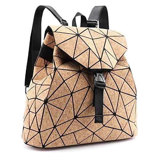 Tikea Rucksack von Kork Geometrische Tasche Umweltfreundlicher Daypack Rucksackhandtasche Schultasche Reisetasche für Frauen Mädchen Kork