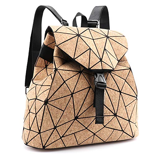 Tikea Damen geometrische Naturkork Handtasche, verstellbarer modischer umweltfreundlicher Rucksack, für Sport, Reisen, etc.