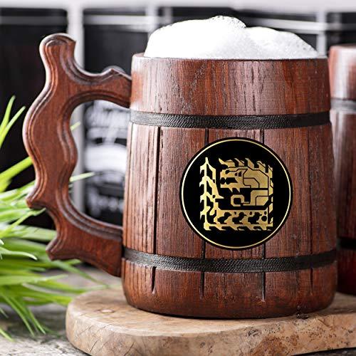 Monster Hunter World Glavenus Wooden Beer Mug. Personalized MHW Beer Mug. Gamer Mug. Monster Hunter Tankard. Gift For Him. Beer Stein Wood Gamer Gift. Gift For Husband #238/0.6L / 22 ounces