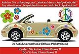 Hippie Blumen Aufkleber, Autoaufkleber Hippie 030 - bunt gemischt (10)
