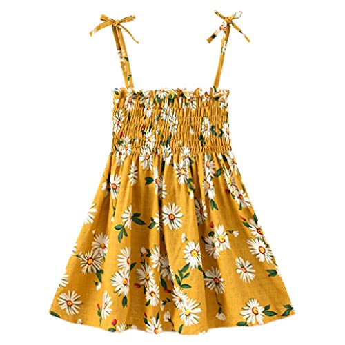 Hatoys Toddler Floral Strap Dress Baby Girl Infant Summer Sleeveless Beach Dress Daisy Yellow