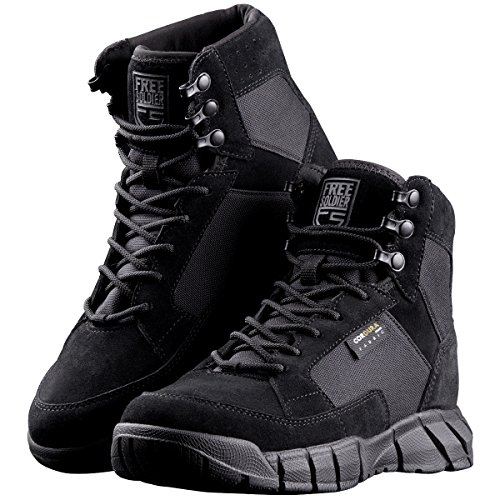 FREE SOLDIER Men's Tactical Boots 6 Inches Lightweight Military Boots for Hiking Work Boots Breathable Desert Boots (Black, 10.5)