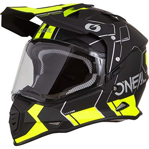 O'NEAL | Casco de Motocicleta | Moto de Enduro | Carcasa ABS, Visera Solar integrada | Peine de Casco Sierra | Adultos | Negro Amarillo Neón | Talla M (57/58 cm)