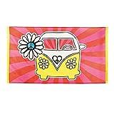 NET TOYS Hippie Flagge Flower Power Banner Fahne 90 x 150 cm 70er Jahre Mottoparty Deko Partydeko Peace and Love