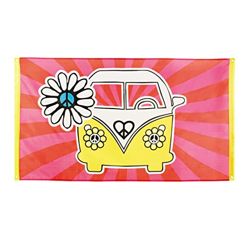 NET TOYS Hippie Flagge Flower Power Banner Fahne 90 x 150 cm 70er Jahre Mottoparty Deko Partydeko Peace and Love
