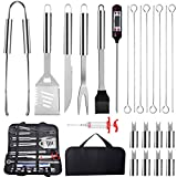 Numola 23Pcs BBQ Grill Tool Set - Stainless Steel Barbecue Grilling Accessories with Carry Bag, Extra Thick Spatula, Fork, Meat Cleaver, Basting Brush Tongs, Thermometer for Camping, Kitchen