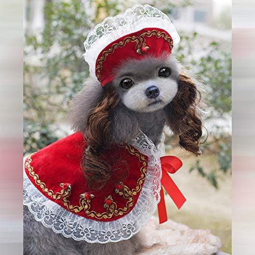 RTEAQ Hundekleidung Party Hundebekleidung für kleine Welpen Kleider Designer Hundebekleidung und Accessoires Süßer Hundegraben mit Hut Set Hundemantel