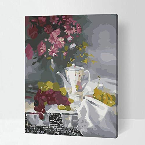 upnanren Das DIY Adult Digital Painting Kit ist für Anfänger und Neue Künstler mit Leinwand-Frucht-Teekanne 16X20 Zoll-Rahmenlos geeignet