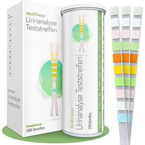 MediVinius® - Urin Teststreifen mit 10 Indikatoren | 50 Stück für sichere Ergebnisse - Diabetes & Ketose Test für Harnzucker & Glukose Erkennung