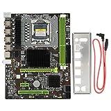 ASHATA Placa Base de computadora, Placa Base X58 Tarjeta de Red de 1366 Pines GB Placa Base de Escritorio DDR3, Soporte de Placa Base de computadora de Alto Rendimiento RECC Memory Pro