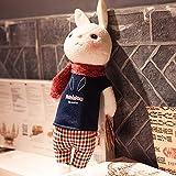 Juguete de Peluche Dibujos Animados Lindo Conejo tiramie muñeco de Peluche muñeca muñeca para niños pequeño Regalo Boda Regalo de cumpleaños 30 cm Camisa Azul Oscuro y Bufanda roja Vino (30 cm)