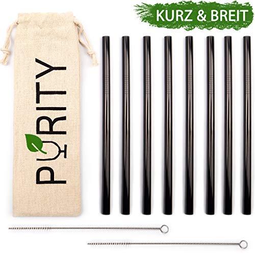PURITY Edelstahl Strohhalme Schwarz - 15 cm kurze, extra breite Metall Trinkhalme - 8er Set + 2 Reinigungsbürsten + Stofftasche für Smoothie und Cocktail