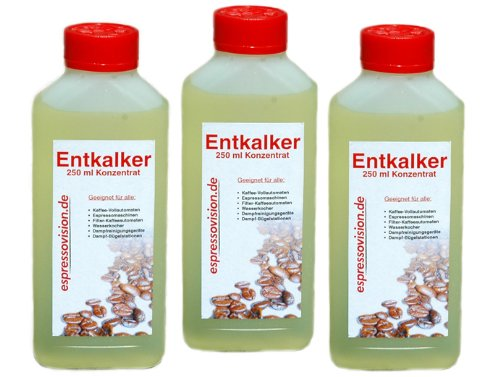 Entkalker Konzentrat (flüssig) für Kaffeevollautomaten und Haushaltsgeräte, 3 x 250ml (750ml)