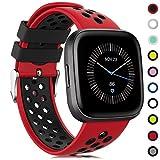 Onedream Compatible para Fitbit Versa/Versa Lite/Versa 2 Correa Hombre Mujer, Silicona Reemplazo Deportivo Compatible para Fitbit Versa/Versa 2/ Versa Lite/Versa Edición Especial Rojo-Negro