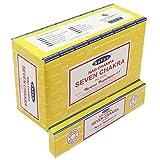 ABN Fashion Satya Seven Chakra Sticks - Varillas de incienso (aroma natural, enrolladas a mano, 3 unidades)