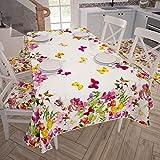 PETTI Artigiani Italiani - Tovaglia Antimacchia Copritavolo Cucina Disegno Farfalle X12 Posti (140x240 cm) 100% Made in Italy