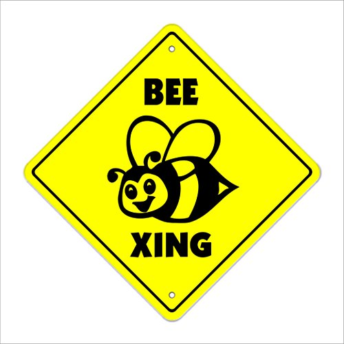 """Bee Crossing Sign Zone Xing   Indoor/Outdoor   14"""" Tall Plastic Sign hive bumble keeper killer honey honeybee sting funny"""