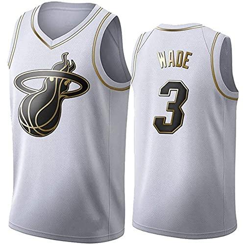Camisetas de Baloncesto Black Gold Edition para Hombre, Camiseta sin Mangas Transpirable para Uso Diario, Camiseta Retro # 3 Swingman,Blanco,L