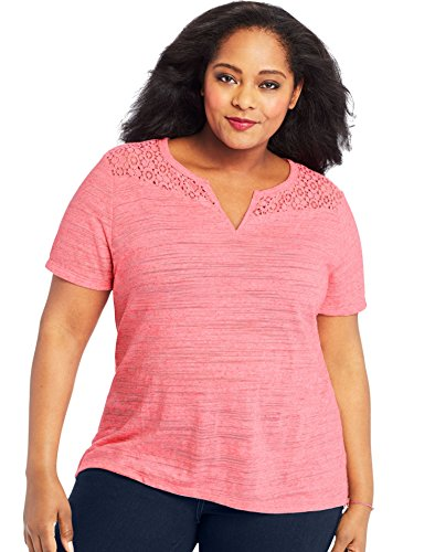 Just My Size Women's Plus Size Short Sleeve Lace Peasant Top, melon punch pink, 3x