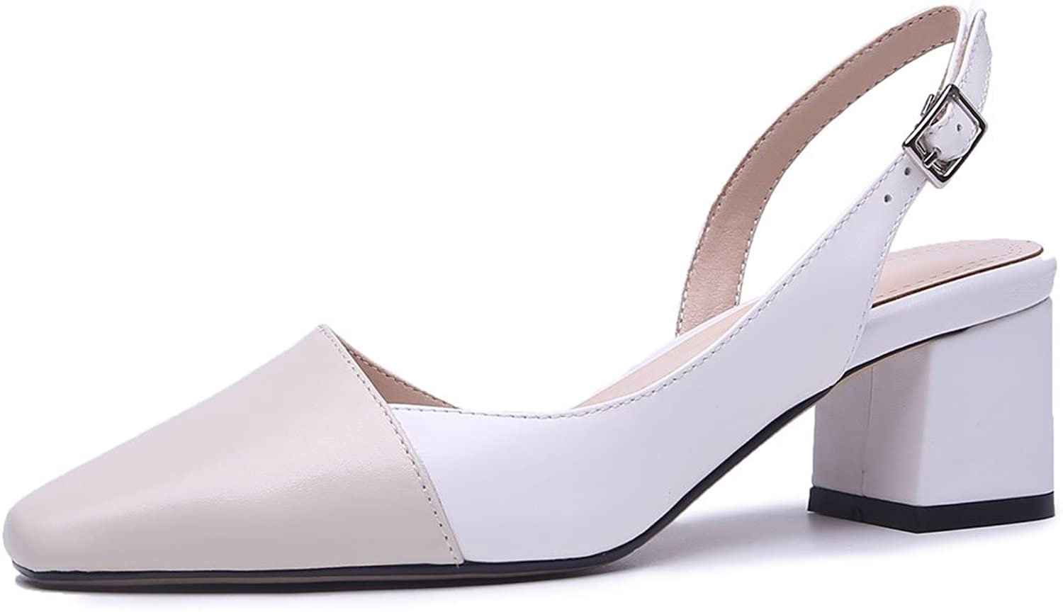 SXHDMY Ladies Leather High Heels Summer Mixed color Sandals Office Work shoes Court shoes Water Pump 34-39 Yards high Heels (color   Light Apricot+White, Size   5.5 US)