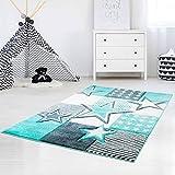 carpet city Kinderteppich Flachflor Bueno Sterne Muster Mint Türkis Konturenschnitt Glanzgarn Kinderzimmer; Größe: 160x230 cm