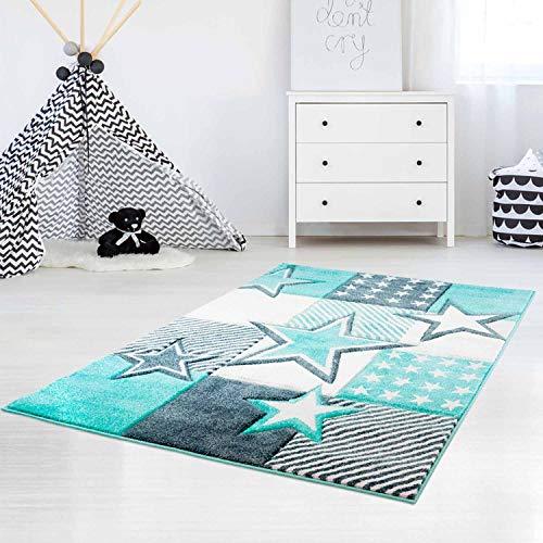 carpet city Kinderteppich Flachflor Bueno Sterne Muster Mint Türkis Konturenschnitt Glanzgarn Kinderzimmer; Größe: 80x150 cm