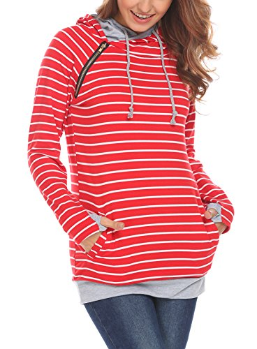 Women's Fashion Striped Sweatshirt Hoodie Tops Pockets Casual Loose Pullover Hoodie (S, Red)