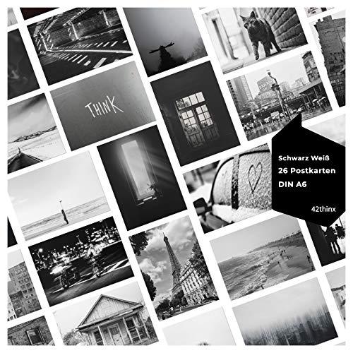 42thinx - Ansichtskarten Set Schwarz Weiß I 26er Postkarten Set Schwarzweißfotografie Chromokarton 300g Papier A6 I Coole Motiv Postkarten I Eindrucksvolle schwarzweiß Bild Postkarten Postcrossing