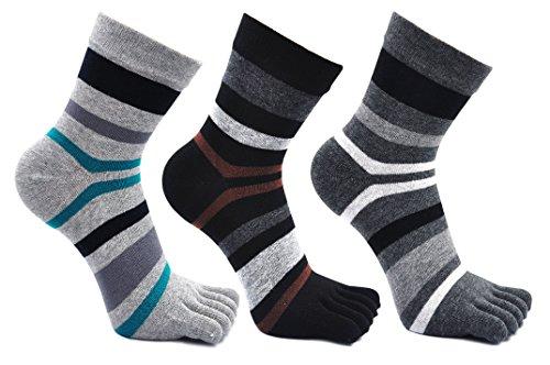 Calcetines de 3 Dedos para Hombres para Deportes Ciclismo Correr, Hombre Calcetines del dedo del pie, Calcetines Dedos de Pies Separados, 3 pares (Multicolor-3 pares)