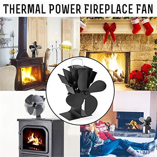 Brownrolly Home-Complete fornuisventilator, thermometer, 4 vleugels, warmte-aangedreven houtkachel, eco-vriendelijke log-brander, voor winter warmer