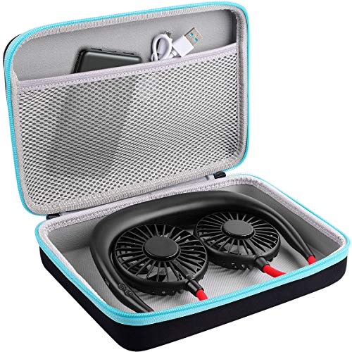 Personal Fan Case Compatible with Cool Fan Portable Hanging Neck Sports Fan-Mini USB Rechargeable Hands Free Neckband Fans, Perfume Repellent Essential Oil, Dropper and Charger Power Bank (Box Only)