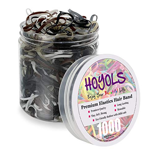 Winter Black & White Hair Ties Small Tiny Elastic Plastic Strong Hair Bands for Women Girls Kids Brown Thick Thin Hair Braided Stretchy Bulk 1000pcs HOYOLS