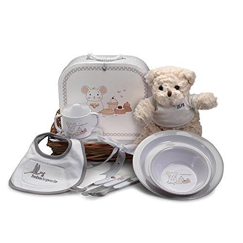 Canastilla Bebé Mi Primera Vajilla- Vajilla completa de melamina, oso de peluche y babero - Ideal como regalo para bebé o recién nacido