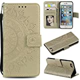 Case Sony Xperia XZ3, Bear Village PU Leather Embossed Design Case with Card Holder and ID Slot, Wallet Flip Stand Cover for Sony Xperia XZ3 (#8 Gold)