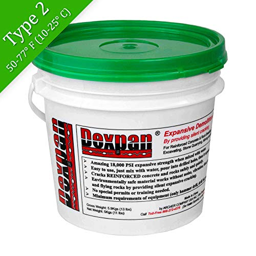 Dexpan Expansive Demolition Grout 11 Lb. Bucket for Rock Breaking, Concrete Cutting, Excavating. Alternative to Demolition Jack Hammer Breaker, Jackhammer, Concrete Saw, Rock Drill (#2 (50F-77F))
