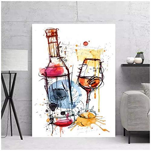 Copa de vino decoración del hogar dibujos animados coloridos arte de la pared pinturas en lienzo imágenes HD impresiones cartel dormitorio-50x70 cm sin marco