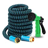 Ubrand BOERSITE 50ft Flexible Expandable Garde Hnose,Expanding Kink Free Easy Storage Collapsible Water Hose with ,3750D With Higher Strength,retractable garden hose 58(Black and Blue )